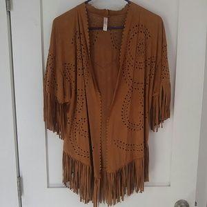 Indian fringe western long faux suede vest boho